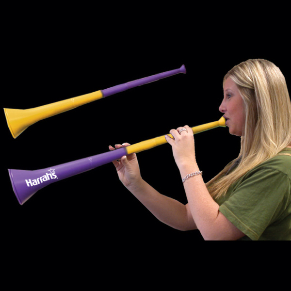 Imprinted Purple & Yellow Bi-Color Collapsible Stadium Horns