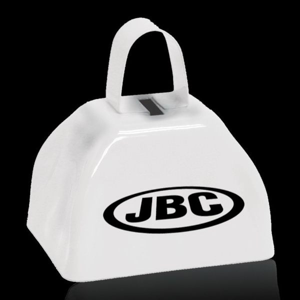 "Imprinted White 3"" Metal Cowbell"