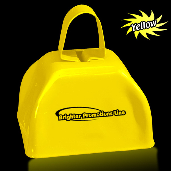 "Imprinted Yellow 3"" Metal Cowbell"