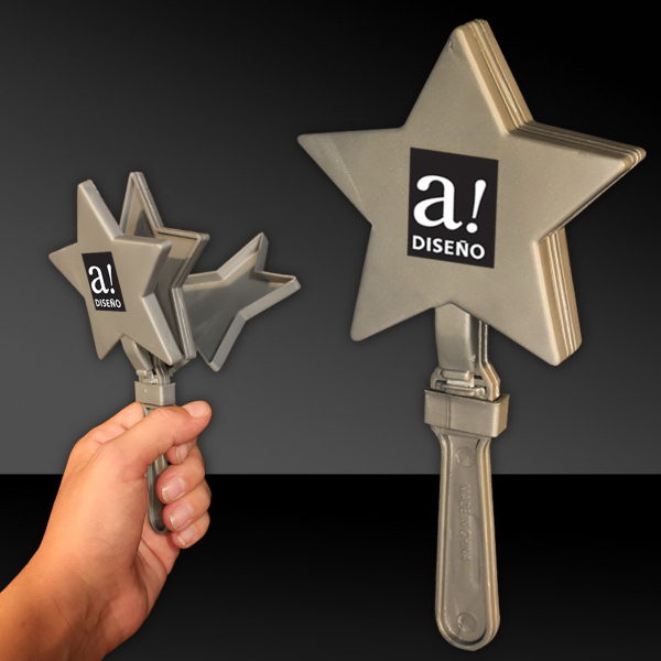 "Imprinted Silver 7"" Star Hand Clapper"
