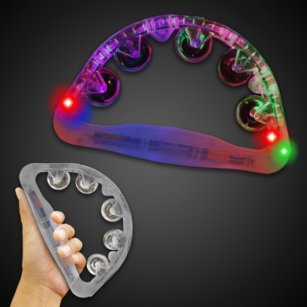 "Customized Clear 9"" Light Up Glow Tambourine"