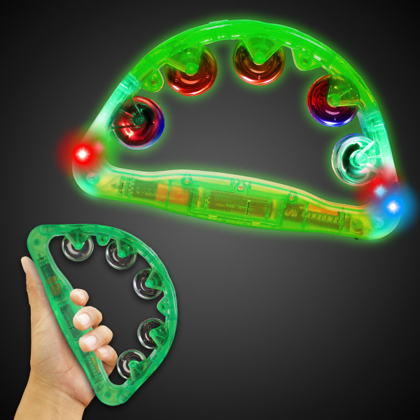 "Promotional Green 9"" Light Up Glow Tambourine"