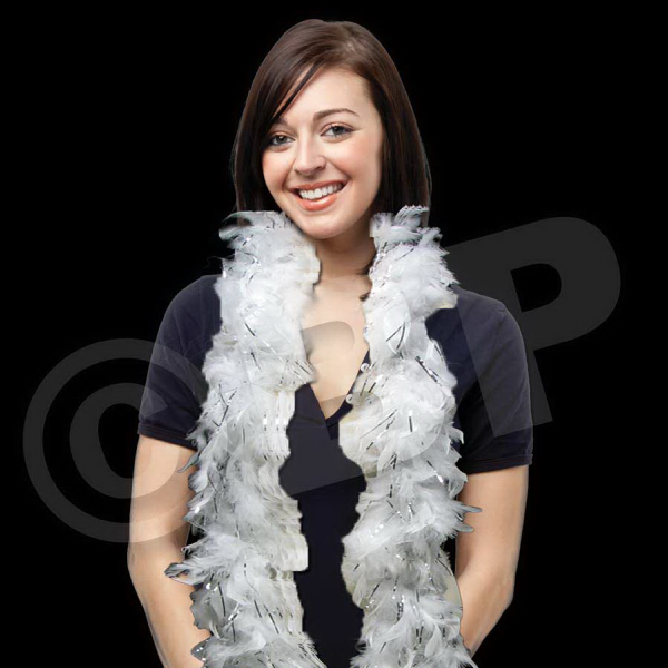 Imprinted White Feather Boa with Silver Tinsel