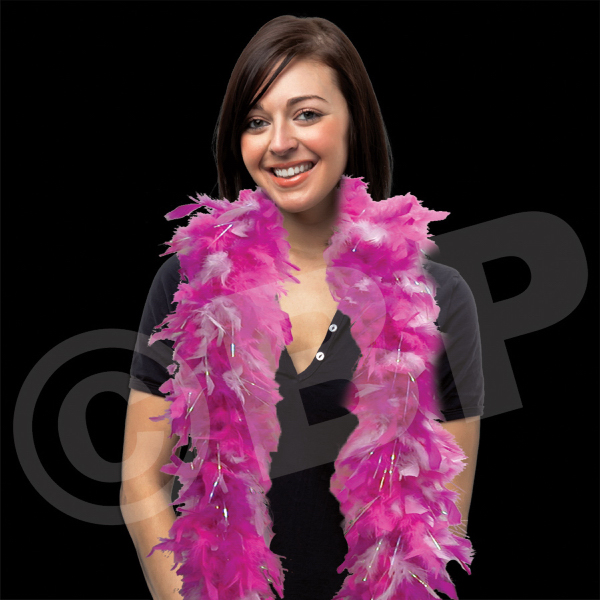 Custom Pink & White Feather Boa with SIlver Tinsel