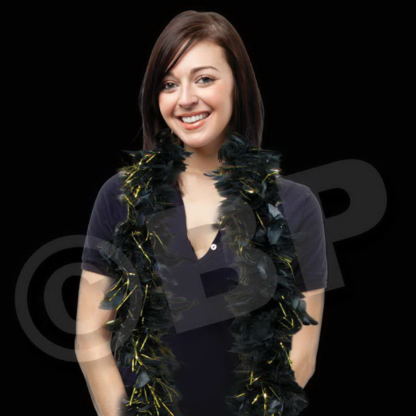 Printed Black Feather Boa with Gold Tinsel