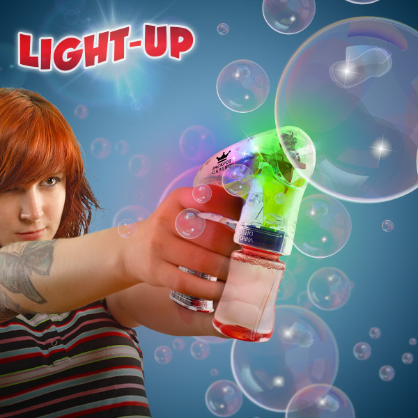 Imprinted Automatic Lighted Glow Bubble Gun
