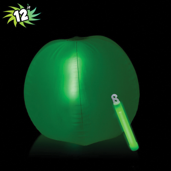 Printed Translucent Green Beach Ball with Glow Stick