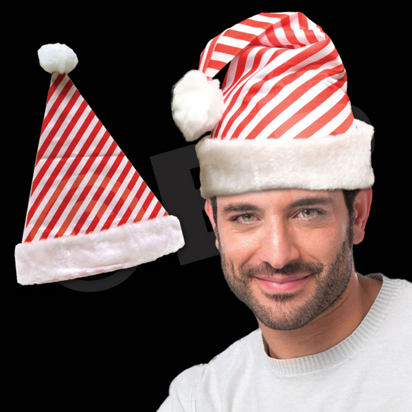 Personalized Candy Cane Stripe Santa Hat