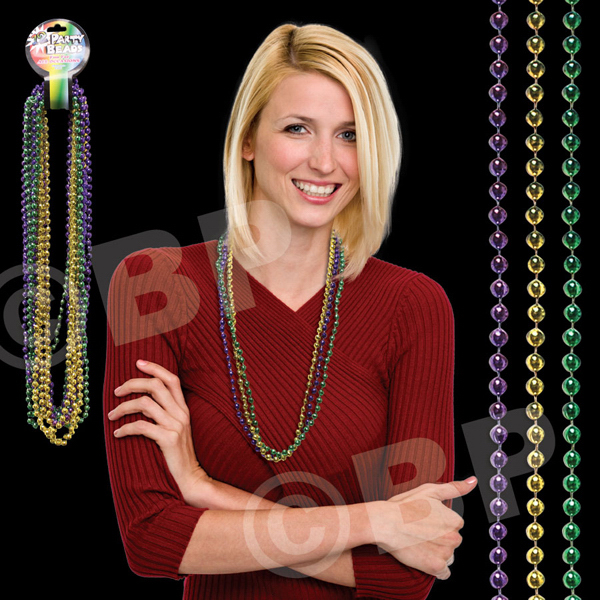 Promotional Round Bead Mardi Gras Necklace