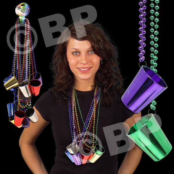 Custom Mardi Gras Necklace with Shot Glass