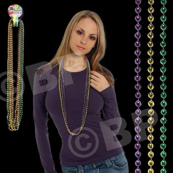 Promotional Assorted Color Round Bead Mardi Gras Necklace