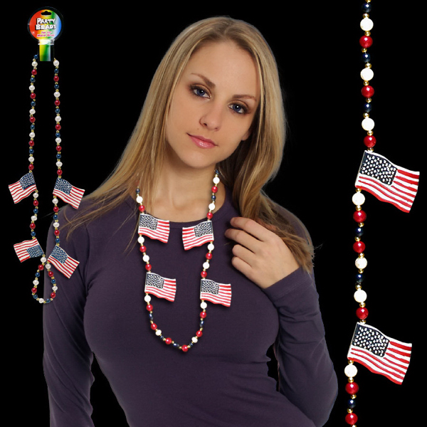 Custom USA Flag Beaded Necklace