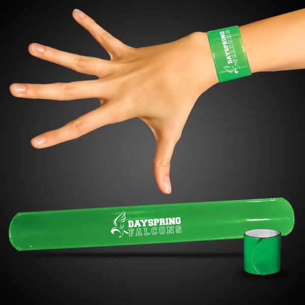"Promotional Green 8 3/4"" Slap Bracelet"