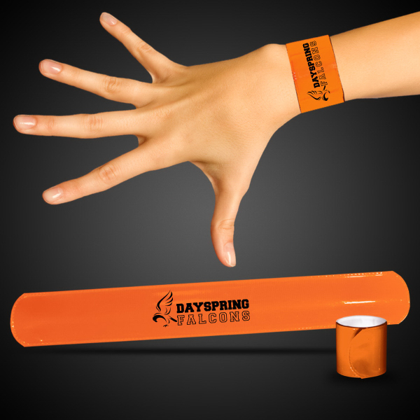 "Printed Orange 8 3/4"" Slap Bracelet"