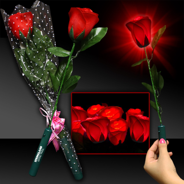 Promotional Light Up Red Silk Rose with Red LED