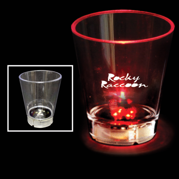 Printed 2 oz. Acrylic Red Dice LED Shot Glass