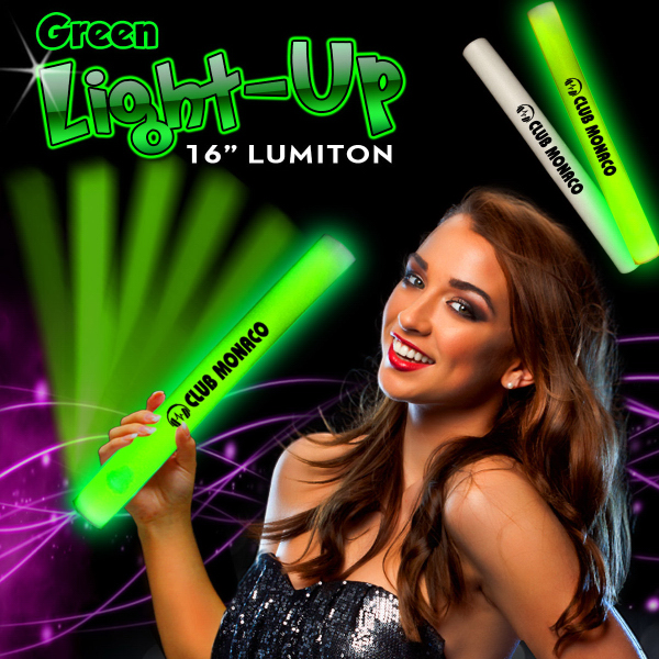 "Promotional 16"" Green LED Light Up Foam Lumiton Baton"