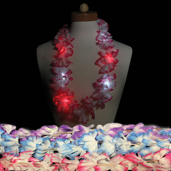 "Imprinted 33"" LED Silk Flower Leis"