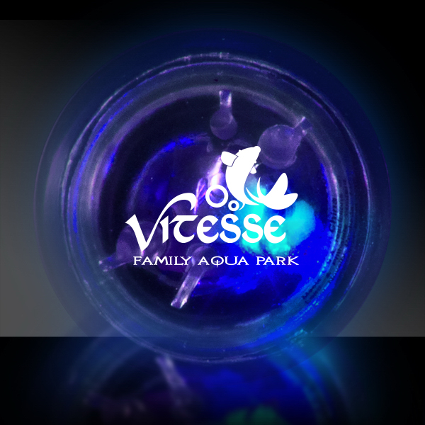 Imprinted Clear Flash Ball with Bright Blue LED Lights