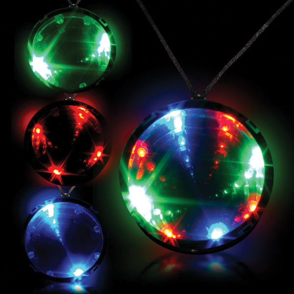 "Imprinted Tri Color 2 3/4"" Infinity Glow Badge with Necklace"