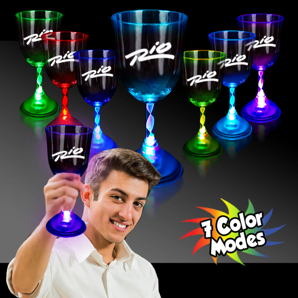Promotional 10 oz. Light Up MultiColor LED Wine Glass