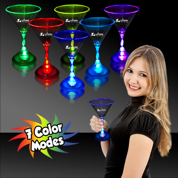 Promotional 7 1/2 oz. Light Up MultiColor LED Martini Glass