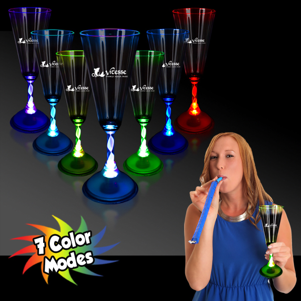 Promotional 7 1/2 oz. LED Light Up Champagne Glass with Frosted Base