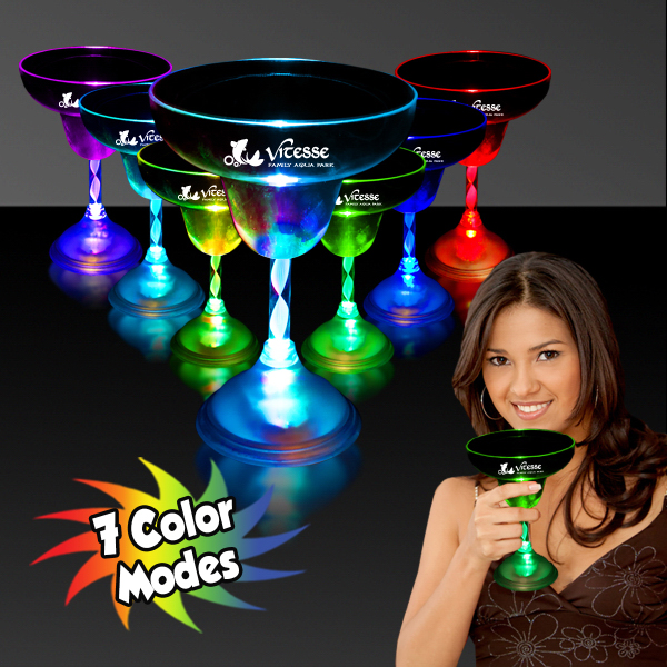 Promotional 10 oz. Light Up Flashing MultiColor LED Margarita Glass