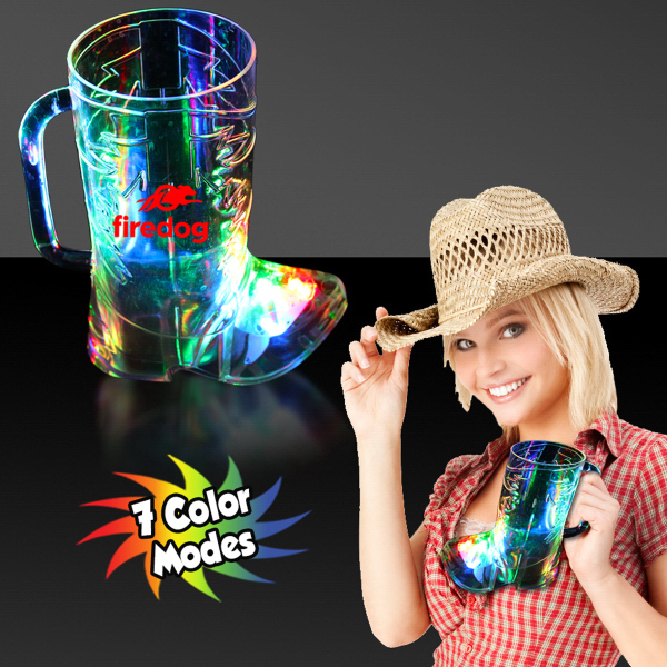 Imprinted Cowboy Boot Shape Light Up Cup