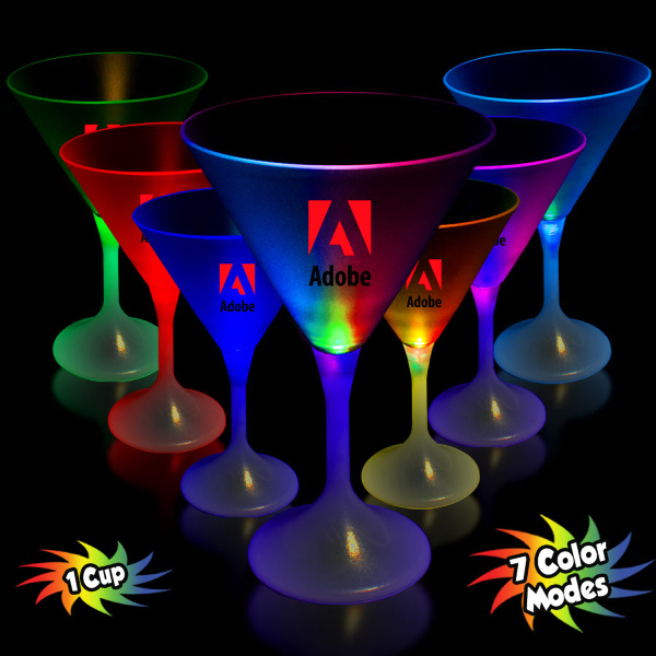 Customized 7 1/4 oz. LED Lighted Frosted Martini Glass with White Base