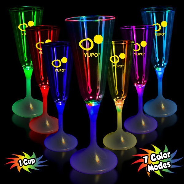 Custom 7 1/2 oz. Lighted LED Champagne Flute