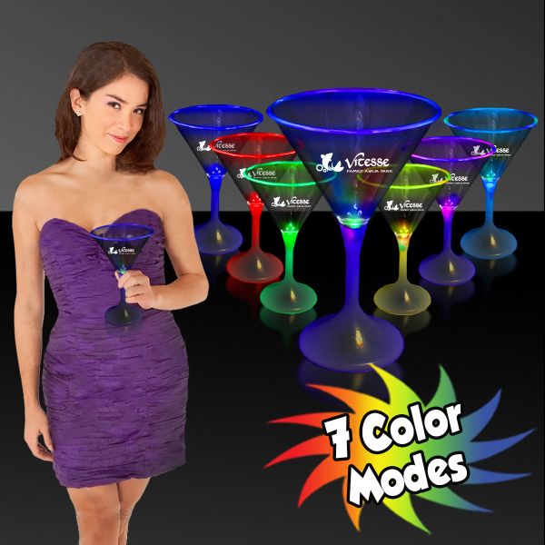 Customized 7 oz. Lighted LED Martini Glass