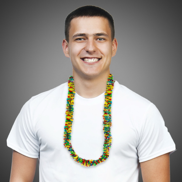 Imprinted Multi Color Rainbow Lei