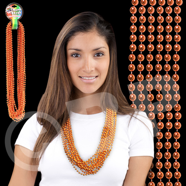 Imprinted Orange Metallic Beaded Necklace
