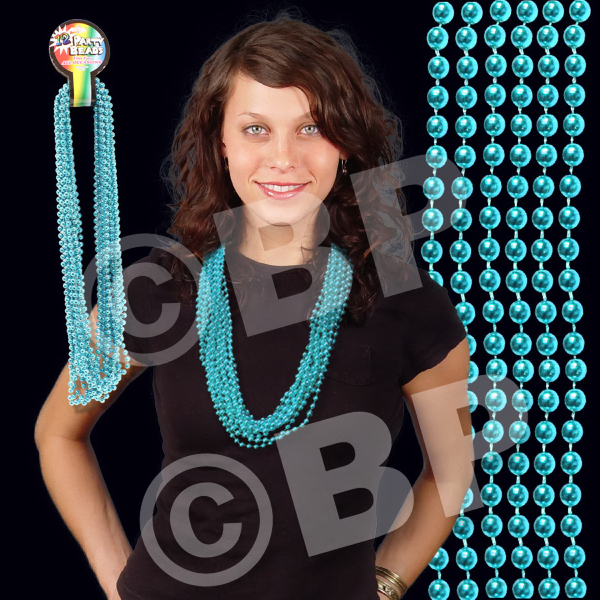 Personalized Teal Metallic Beaded Necklace