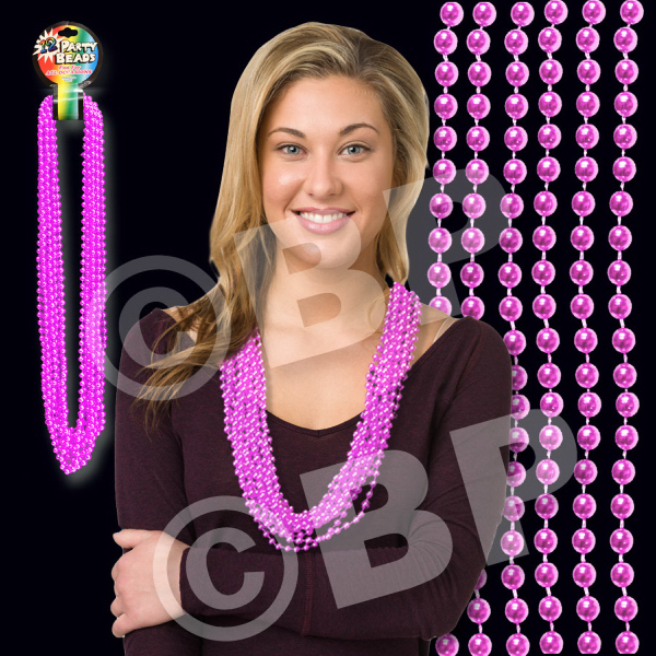 Promotional Pink Metallic Beaded Necklace