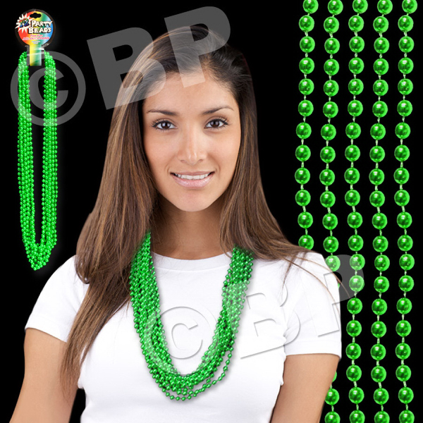 Promotional Green Metallic Beaded Necklace