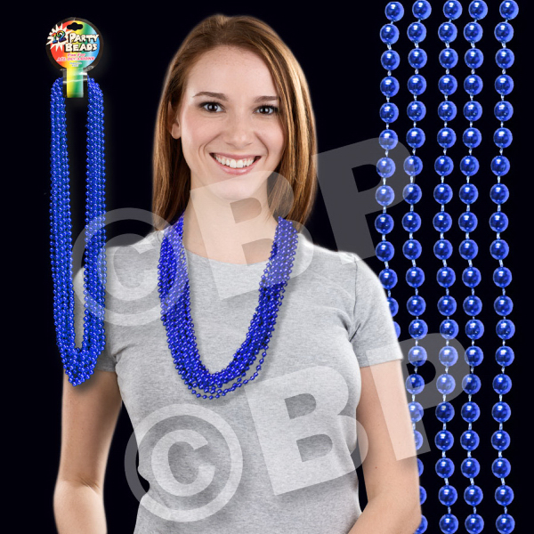 Customized Blue Metallic Beaded Necklace