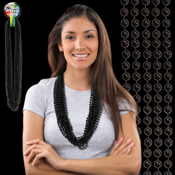 Custom Black Metallic Beaded Necklace