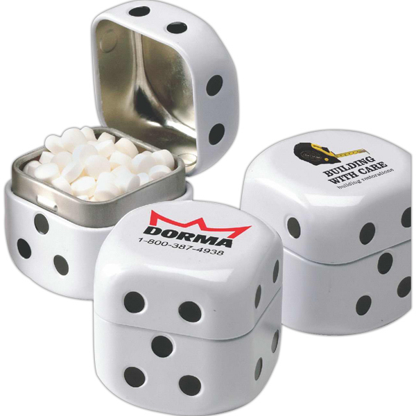 Imprinted Dice shaped tin filled with Jelly Belly (R) jelly beans