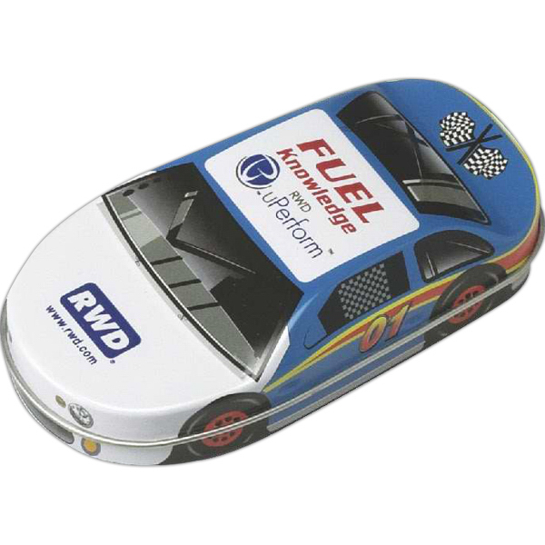 Printed Race car tin filled with Jelly Belly (R) jelly beans