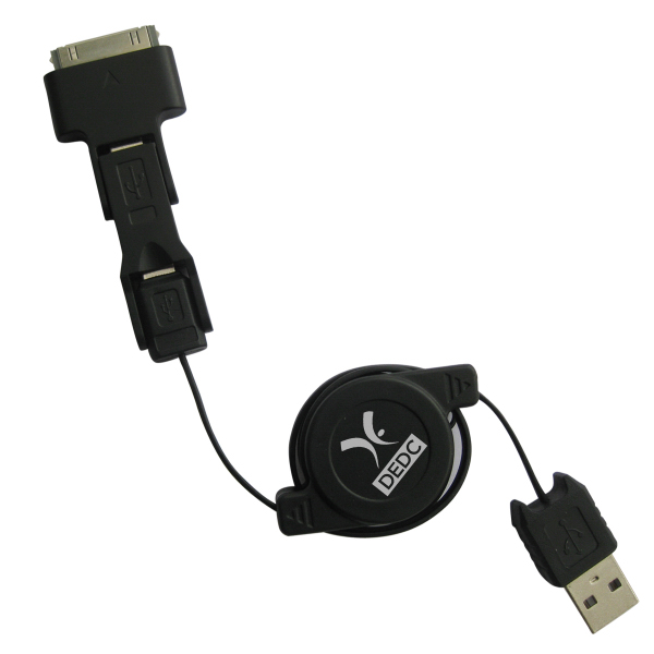 Imprinted 3 in 1 Retractable Cable USB