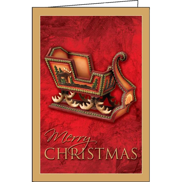 Customized Yuletide Sleigh greeting card