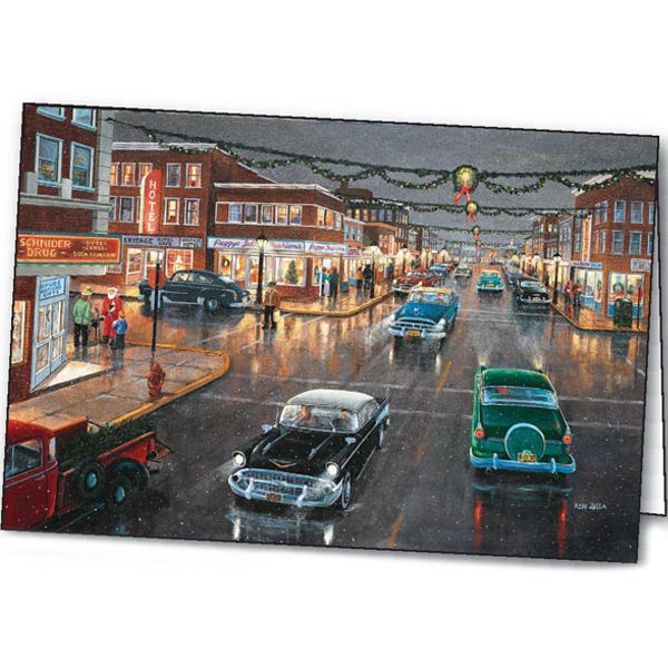 Customized Main Street - 'Tis the Season greeting card