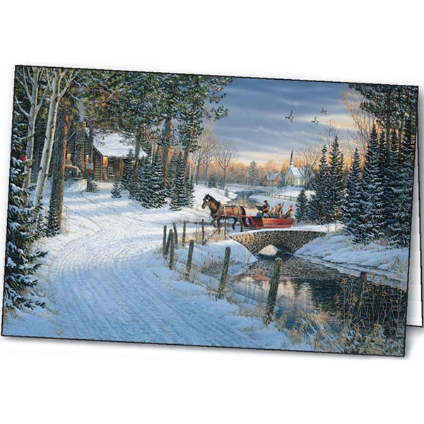 Customized Holiday Sleigh Ride greeting card
