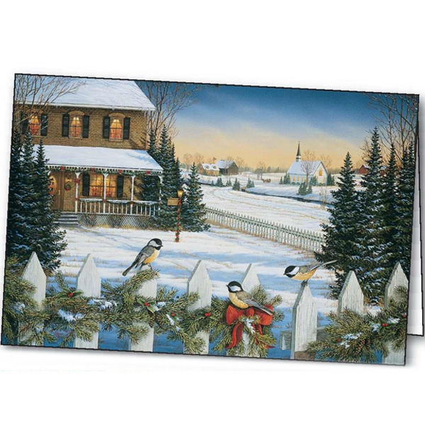 Custom Yuletide Chickadees greeting card