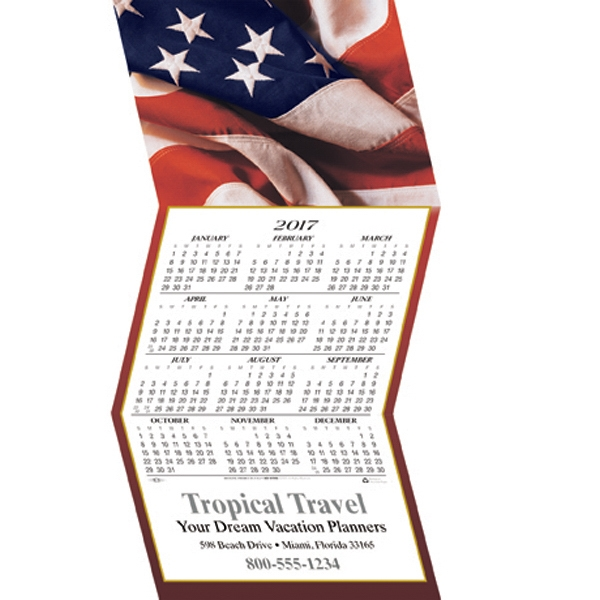 Customized American Flag calendar greeting card