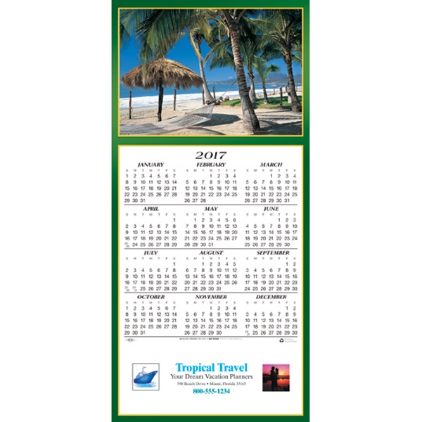 Personalized Tropical Escape calendar greeting card