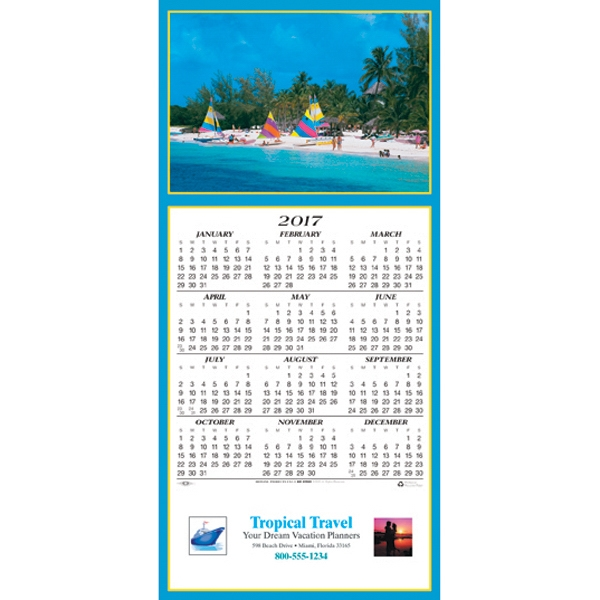 Imprinted Tropical Getaway calendar greeting card