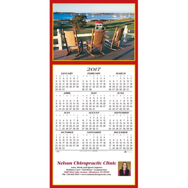 Customized Seaside Vista calendar greeting card